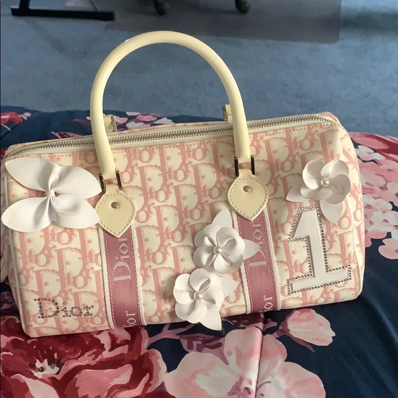 Dior pink and white purse